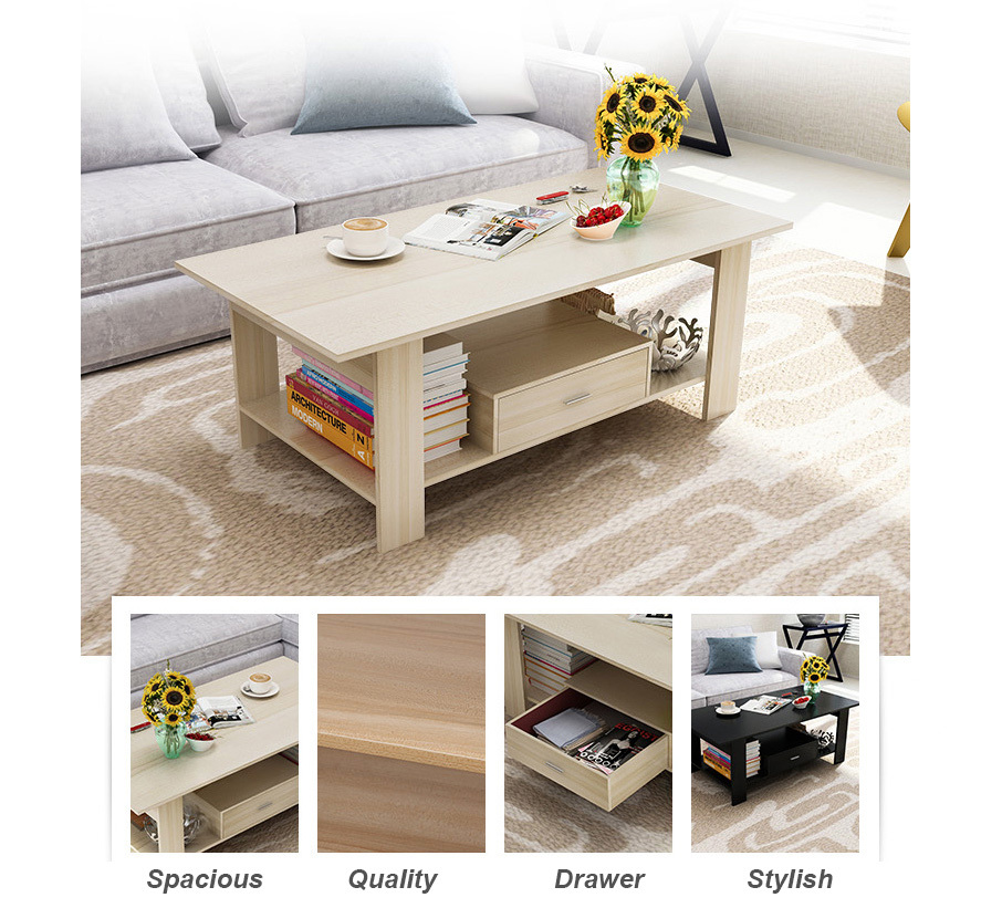 Simple Modern Wooden Small Table Coffee Table With Drawer