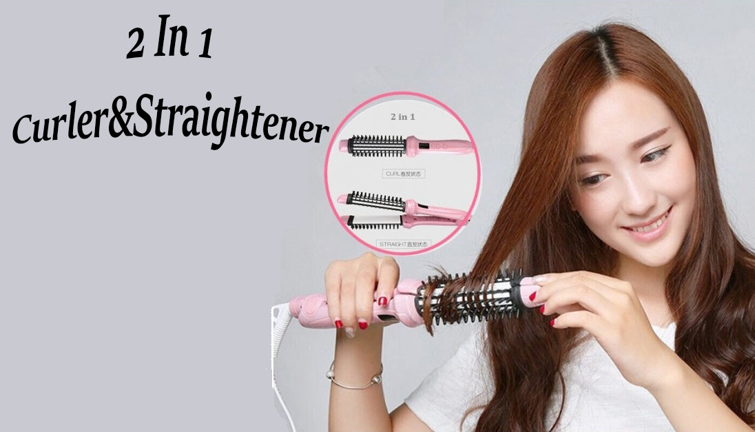 Vivid & Vogue Korean Design Ceramic Hair Straightening Irons Brush 2 In 1 Both Straight And Curls