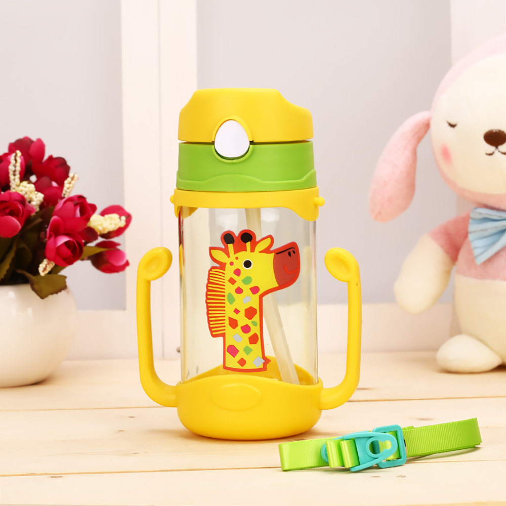 Baby Drink Cup 400ml Handle Strap Children S Cups Straw