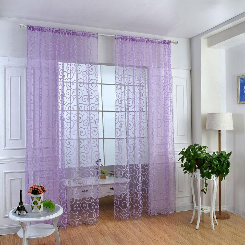 Transparent Tulle Curtains Living Room Sheer Curtain 100cm X 200cm