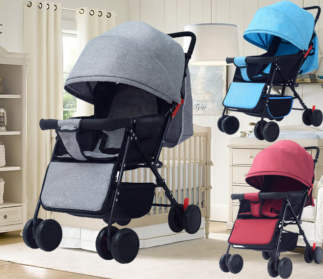 Baby Stroller Lightweight  Folding Carrier 8 Wheels Suspension Canopy Baby Carrier