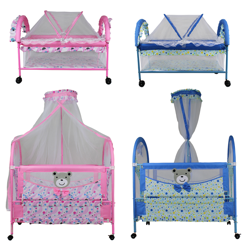 2-in-1 Double Baby Bed Sleeping Bed Portable Folding Swinging Shaker With Mosquito Nets 8 Wheels (9356)