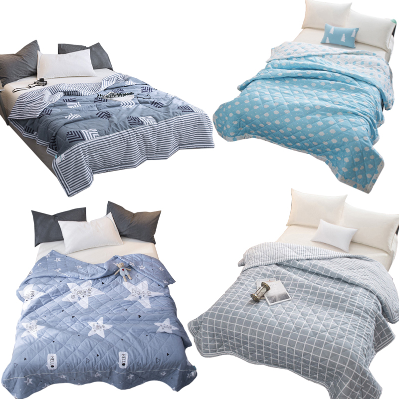 Cotton Home Lightweight Printed Summer Quilt Blankets Grid Summer Comforter Bed Quilting Suitable for Adults Kids 150cm x 195cm (1.5)