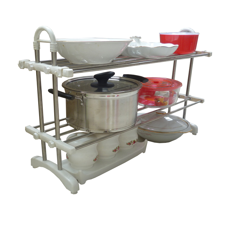 2 Layer Kitchen Stainless Steel Shelf Telescopic Rack (N245)