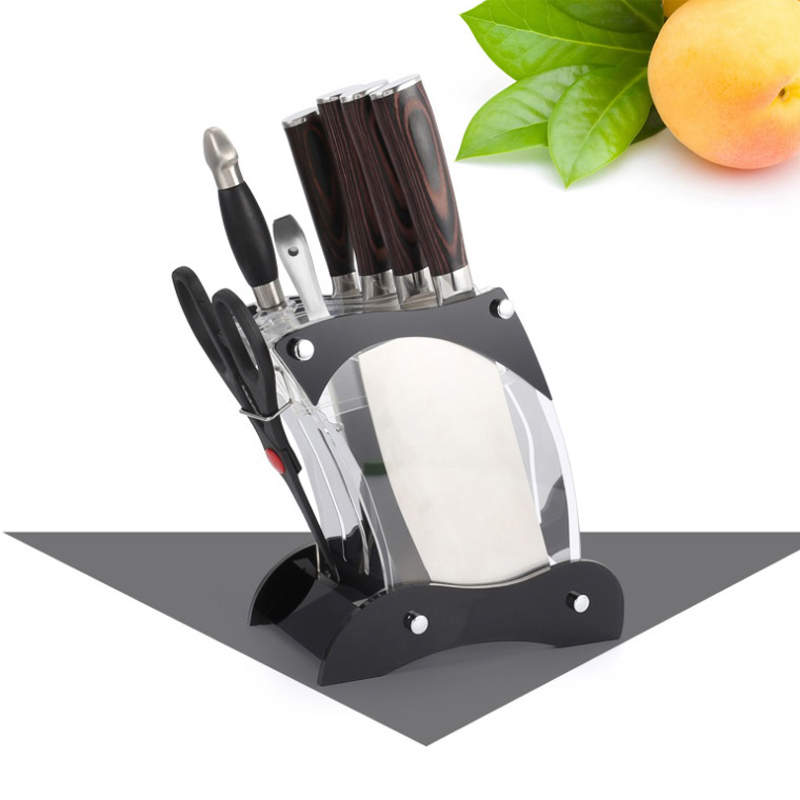 High Quality Household Knife Holder Cutter 7 Holes Kitchen Kitchenware Storage Holder Rack Kitchen Knife Stand (A-2)